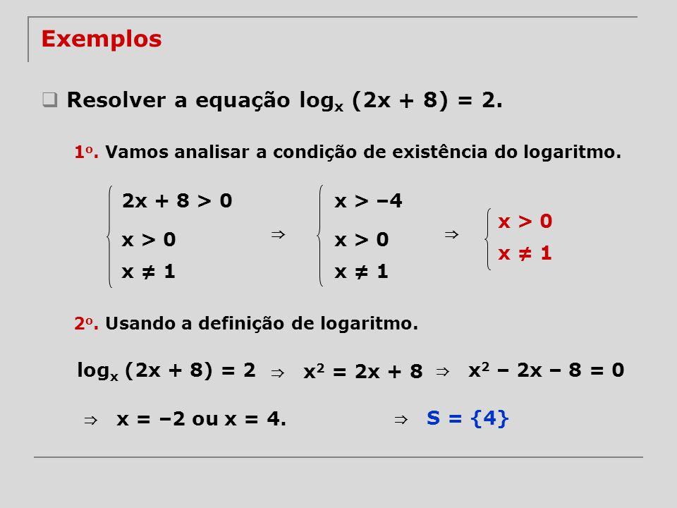Exemplos Resolver a equação logx (2x + 8) = 2. ⇒ ⇒ 2x + 8 > 0