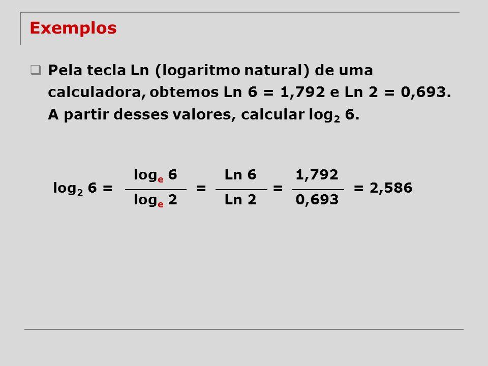 Exemplos Pela tecla Ln (logaritmo natural) de uma calculadora, obtemos Ln 6 = 1,792 e Ln 2 = 0,693. A partir desses valores, calcular log2 6.