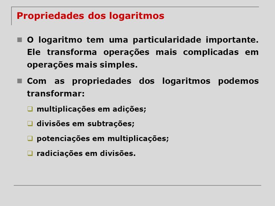 Propriedades dos logaritmos