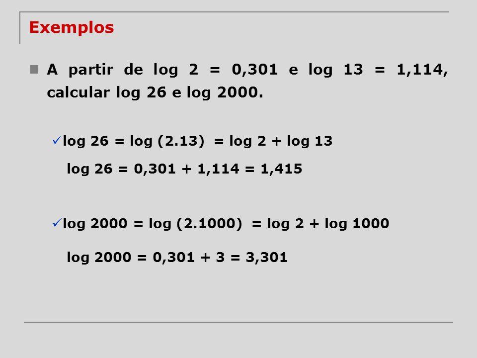 Exemplos A partir de log 2 = 0,301 e log 13 = 1,114, calcular log 26 e log 2000. log 26 = log (2.13)