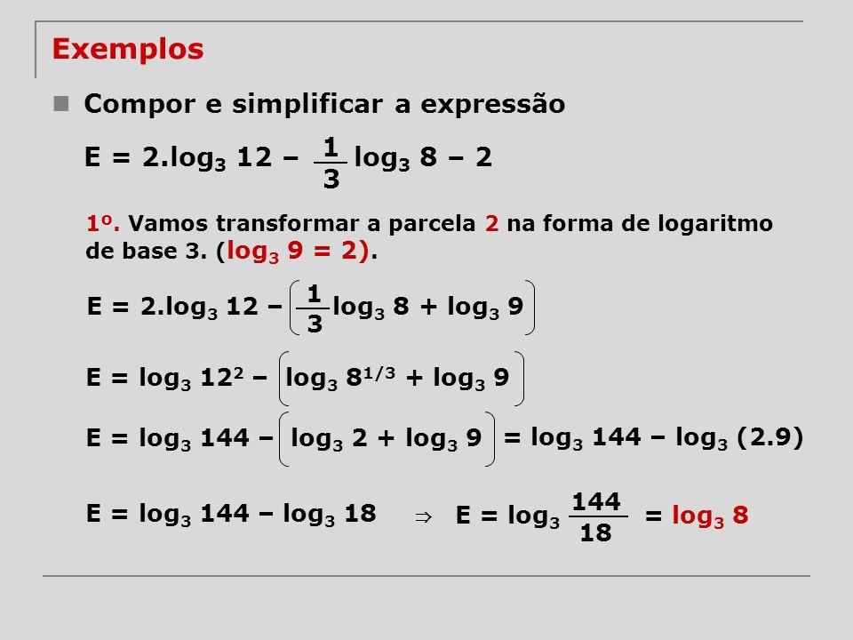 Exemplos Compor e simplificar a expressão E = 2.log3 12 – log3 8 – 2 1