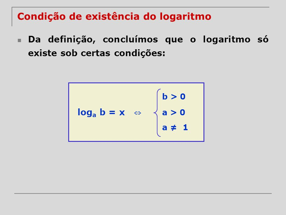 Condição de existência do logaritmo