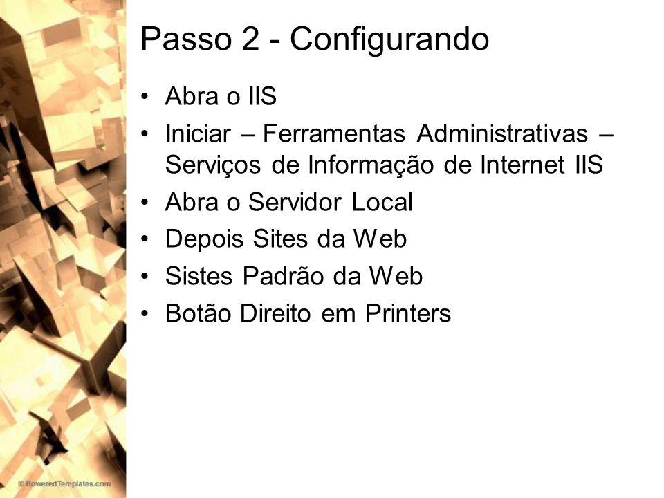 Passo 2 - Configurando Abra o IIS