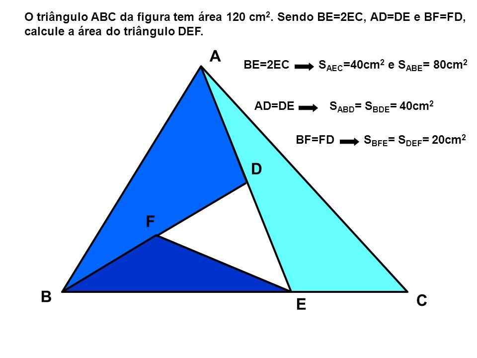 O triângulo ABC da figura tem área 120 cm2