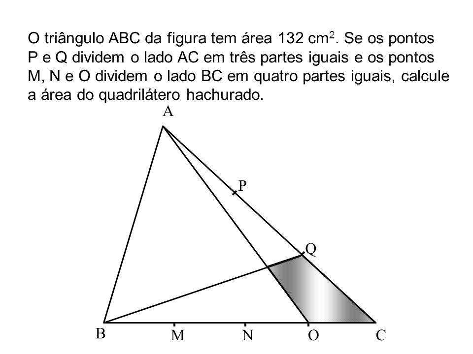 O triângulo ABC da figura tem área 132 cm2. Se os pontos