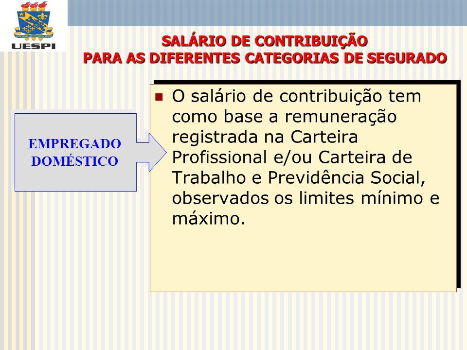 SALÁRIO DE CONTRIBUIÇÃO PARA AS DIFERENTES CATEGORIAS DE SEGURADO
