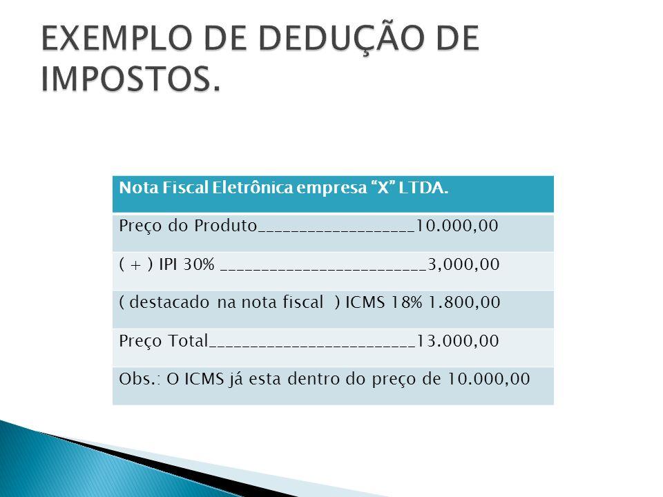 EXEMPLO DE DEDUÇÃO DE IMPOSTOS.