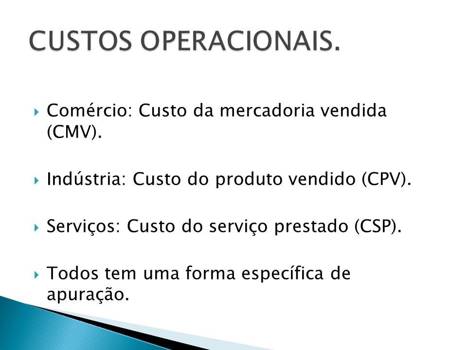 CUSTOS OPERACIONAIS. Comércio: Custo da mercadoria vendida (CMV).