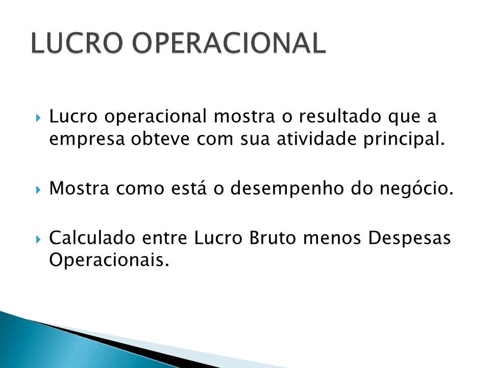 LUCRO OPERACIONAL Lucro operacional mostra o resultado que a empresa obteve com sua atividade principal.