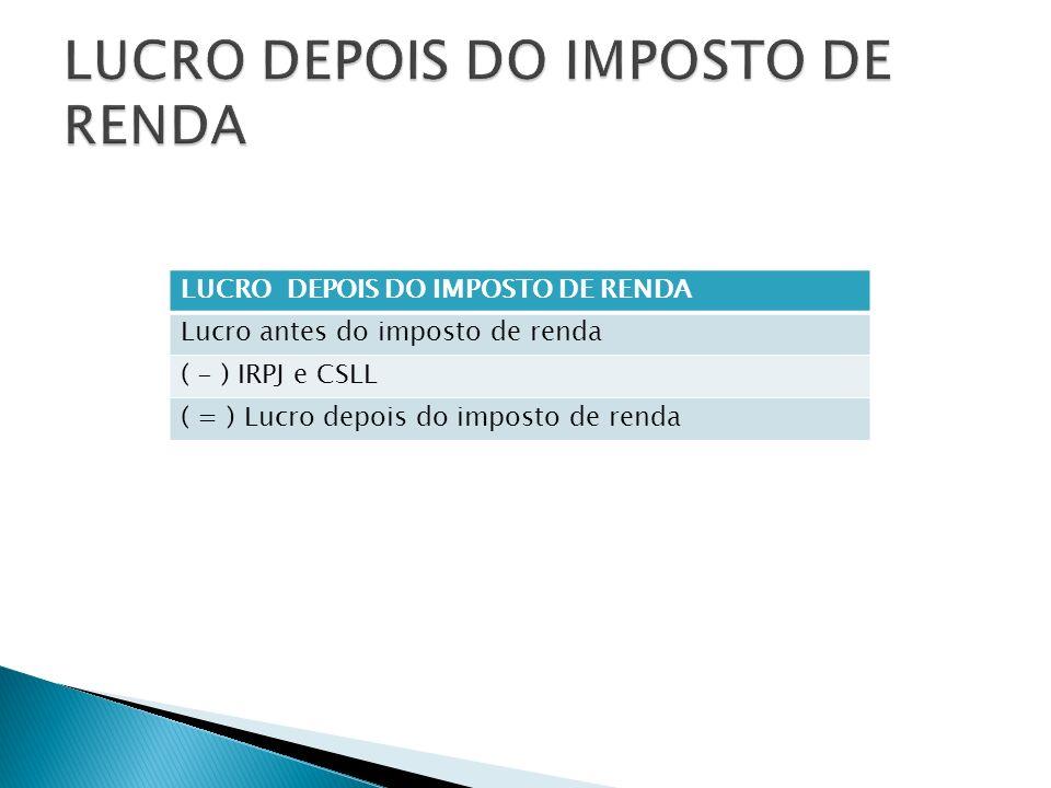 LUCRO DEPOIS DO IMPOSTO DE RENDA