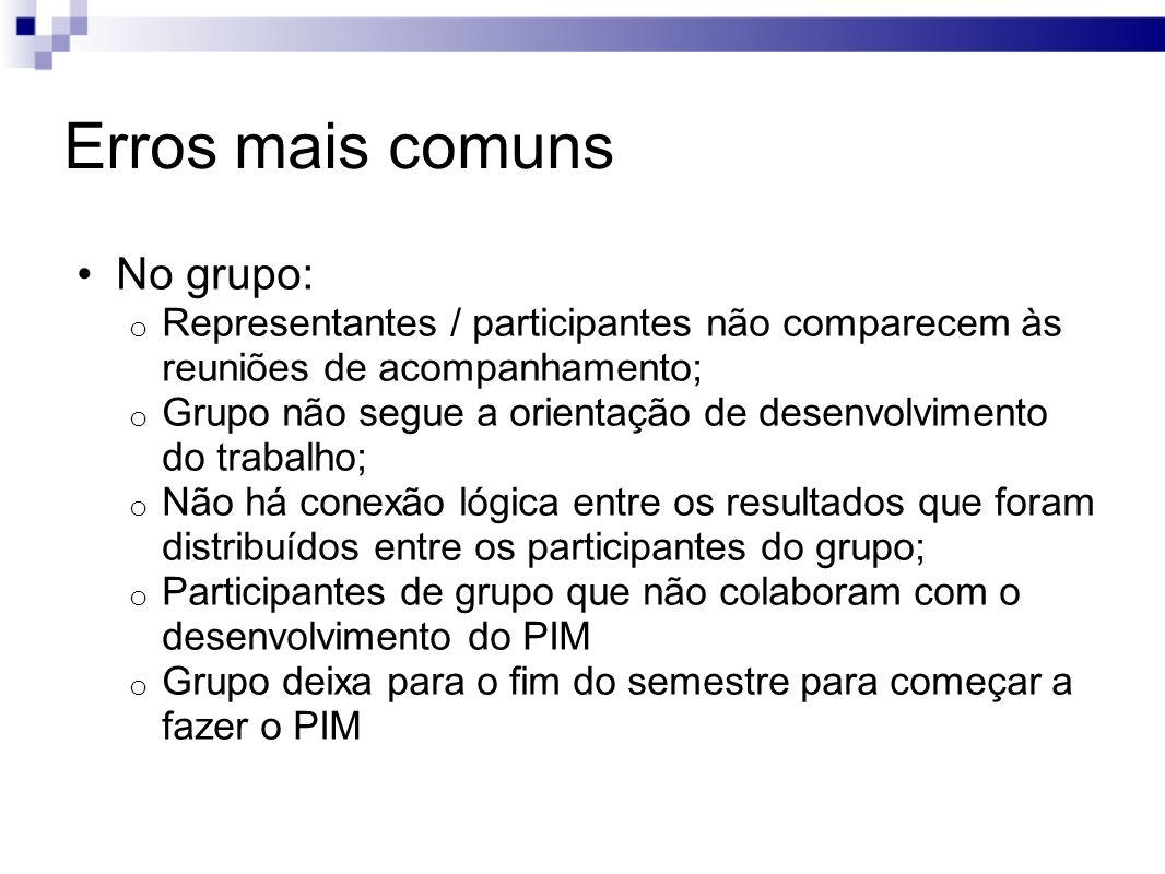 Erros mais comuns No grupo: