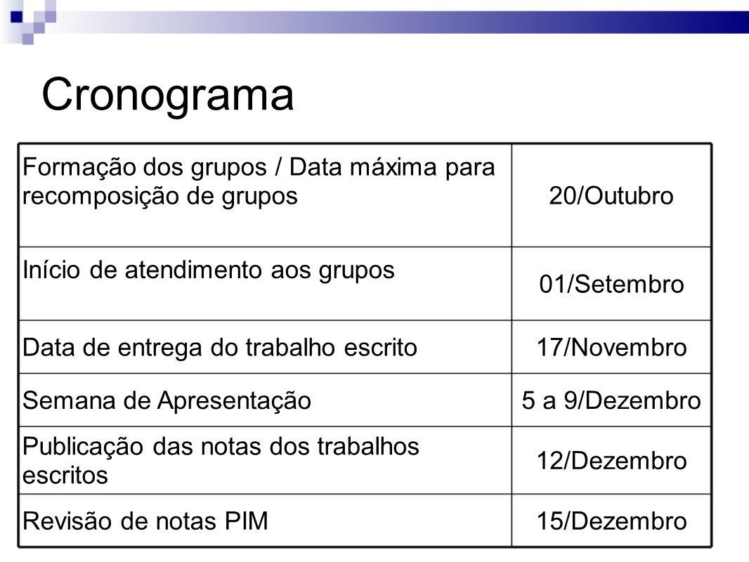 Cronograma Formação dos grupos / Data máxima para recomposição de grupos. 20/Outubro. Início de atendimento aos grupos.