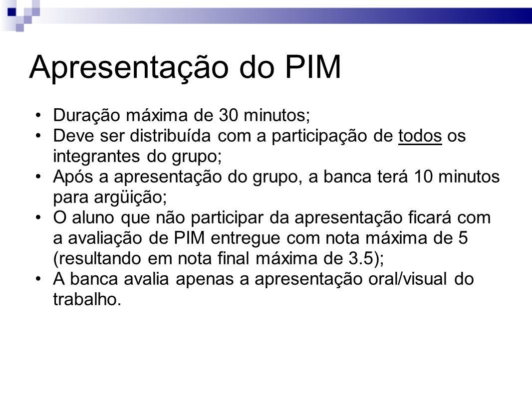 Apresentação do PIM Duração máxima de 30 minutos;