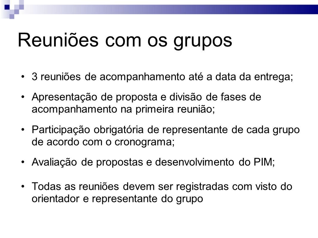 Reuniões com os grupos 3 reuniões de acompanhamento até a data da entrega;