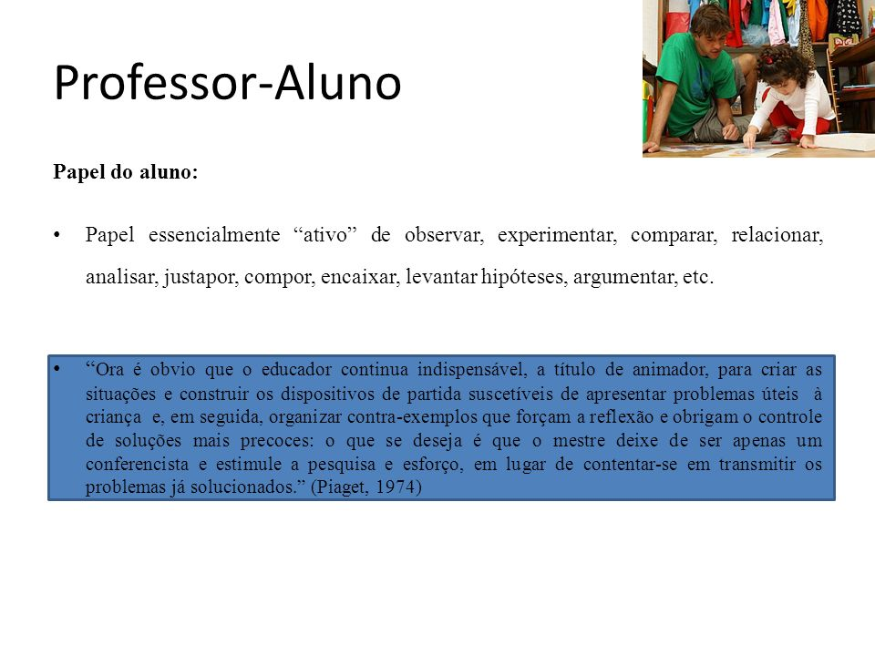 Professor-Aluno Papel do aluno: