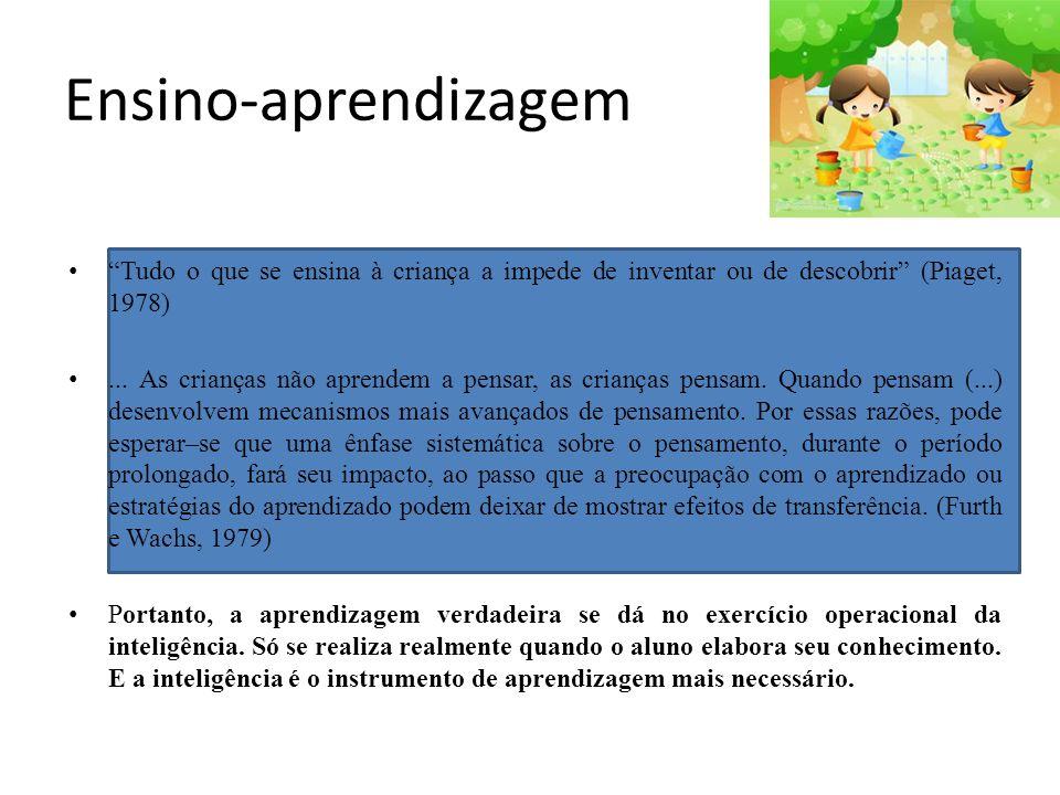 Ensino-aprendizagem Tudo o que se ensina à criança a impede de inventar ou de descobrir (Piaget, 1978)