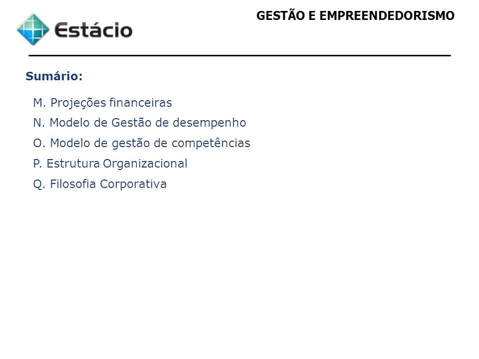Sumário: M. Projeções financeiras. N. Modelo de Gestão de desempenho. O. Modelo de gestão de competências.