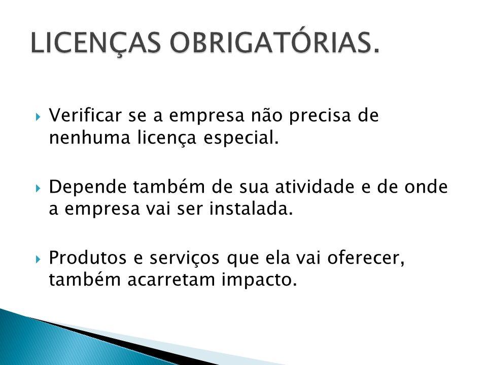 LICENÇAS OBRIGATÓRIAS.
