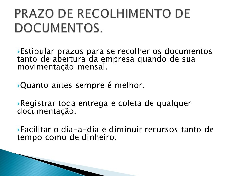 PRAZO DE RECOLHIMENTO DE DOCUMENTOS.