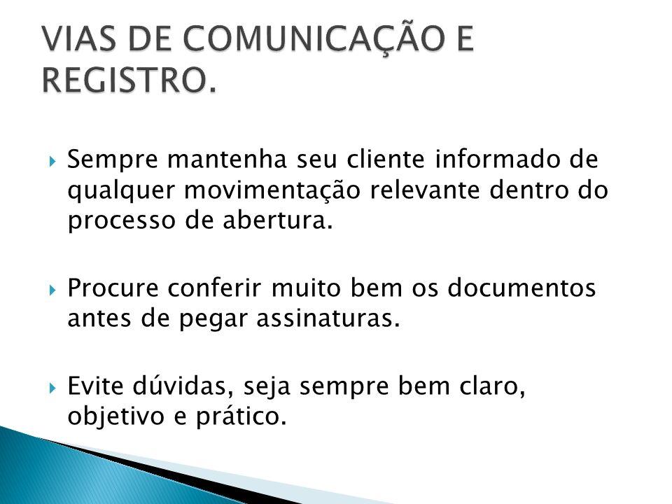 VIAS DE COMUNICAÇÃO E REGISTRO.