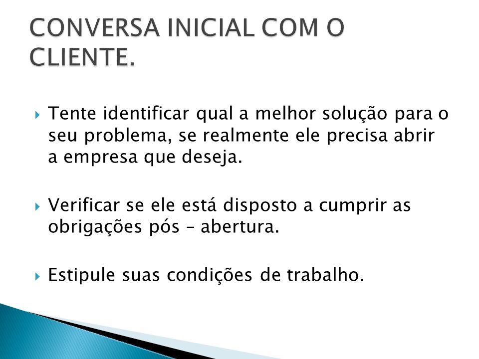 CONVERSA INICIAL COM O CLIENTE.