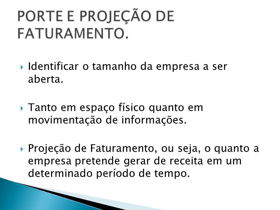 PORTE E PROJEÇÃO DE FATURAMENTO.