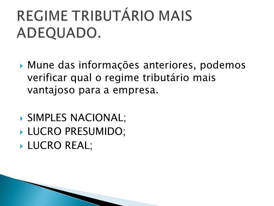 REGIME TRIBUTÁRIO MAIS ADEQUADO.