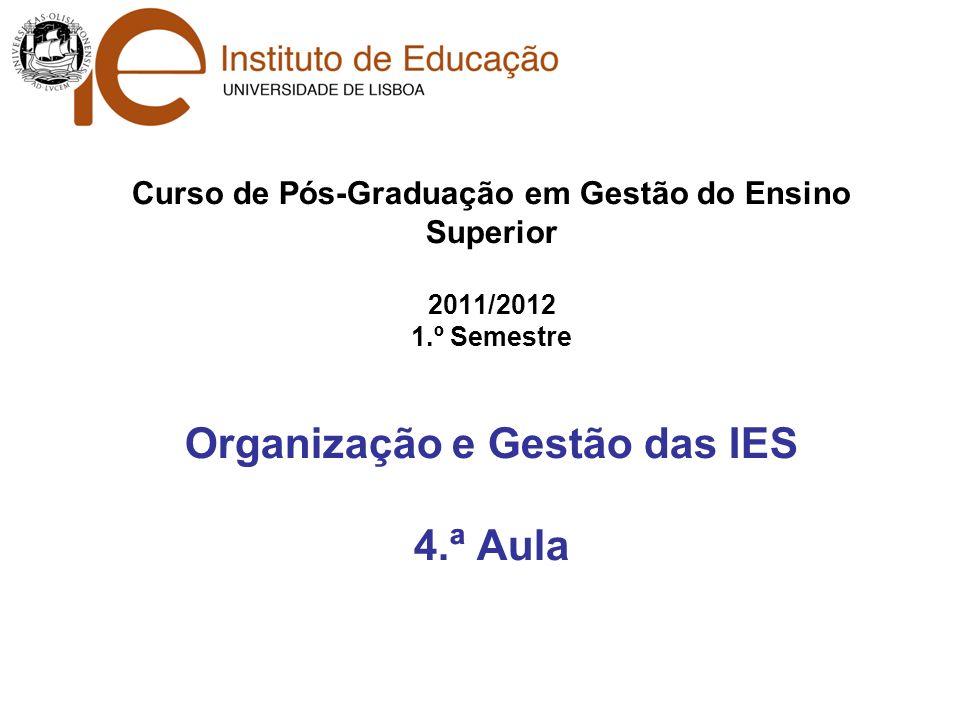 Curso de Pós-Graduação em Gestão do Ensino Superior 2011/2012 1
