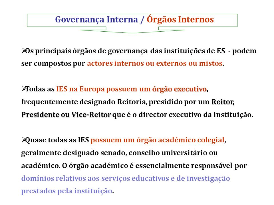Governança Interna / Órgãos Internos