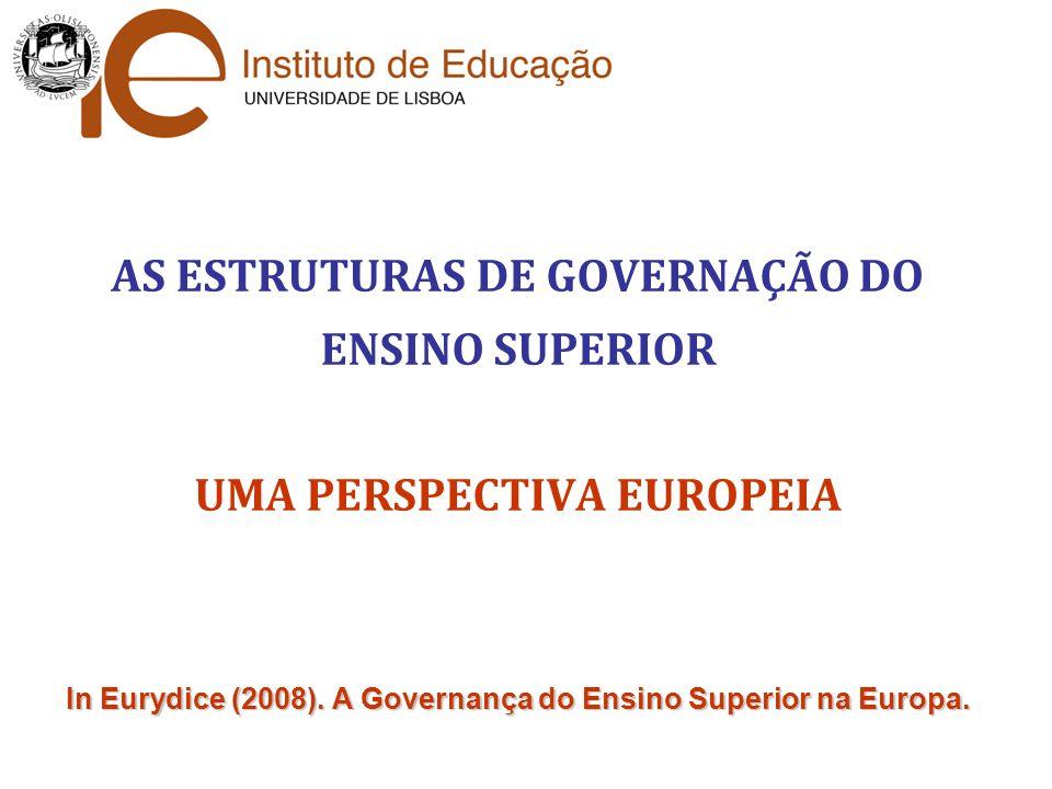 AS ESTRUTURAS DE GOVERNAÇÃO DO ENSINO SUPERIOR UMA PERSPECTIVA EUROPEIA In Eurydice (2008).