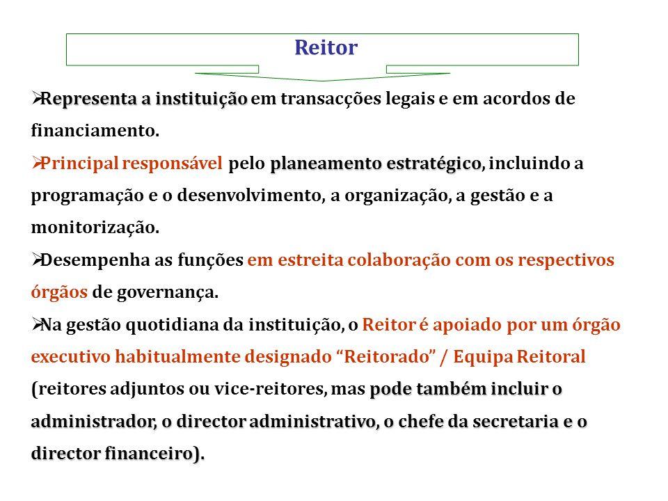 Reitor Representa a instituição em transacções legais e em acordos de financiamento.