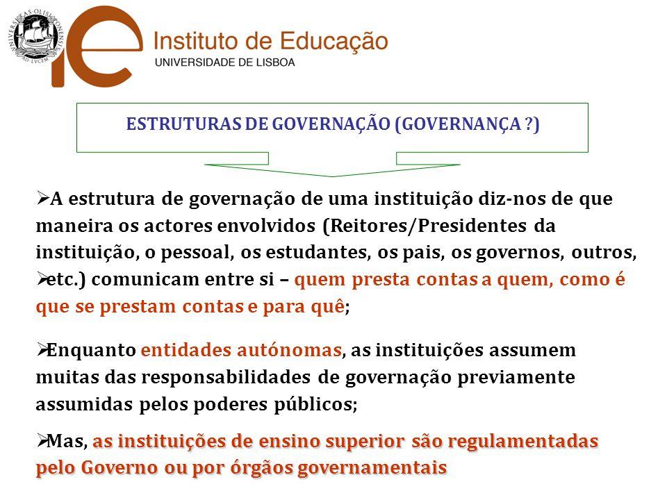 ESTRUTURAS DE GOVERNAÇÃO (GOVERNANÇA )