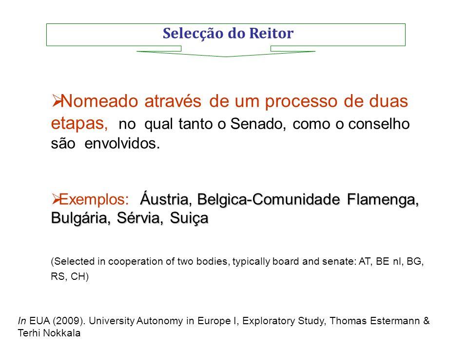 Selecção do Reitor Nomeado através de um processo de duas etapas, no qual tanto o Senado, como o conselho são envolvidos.