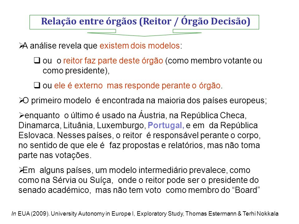 Relação entre órgãos (Reitor / Órgão Decisão)