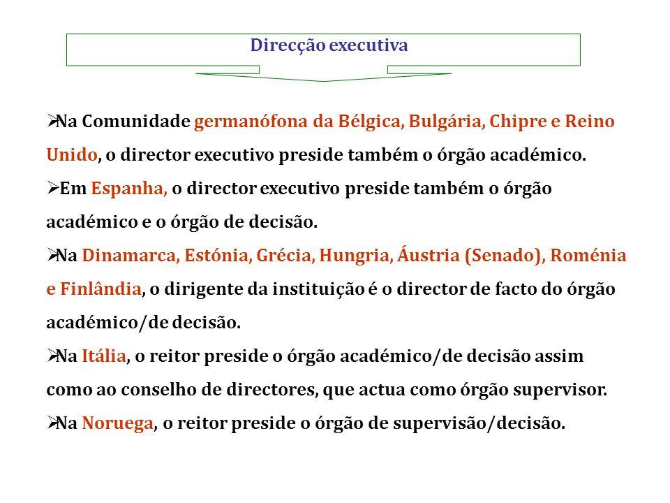 Direcção executiva Na Comunidade germanófona da Bélgica, Bulgária, Chipre e Reino Unido, o director executivo preside também o órgão académico.