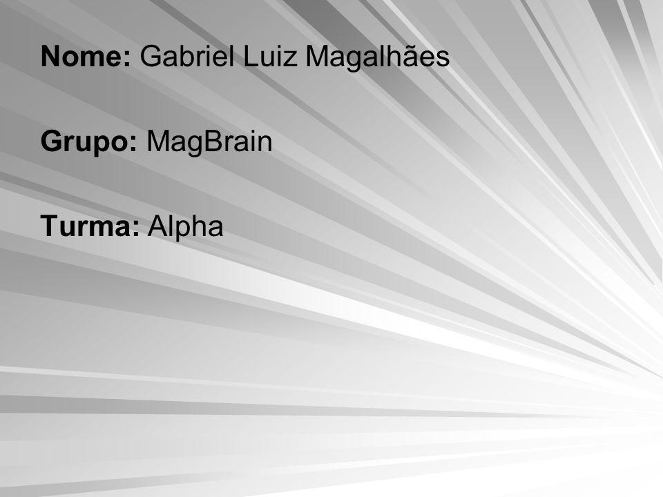 Nome: Gabriel Luiz Magalhães