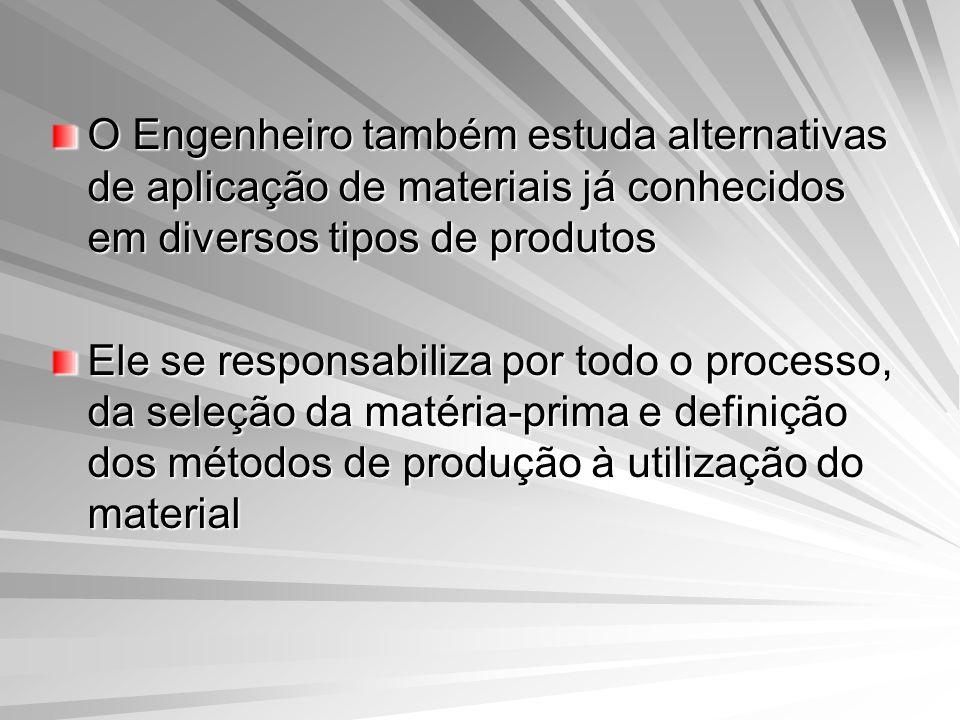 O Engenheiro também estuda alternativas de aplicação de materiais já conhecidos em diversos tipos de produtos