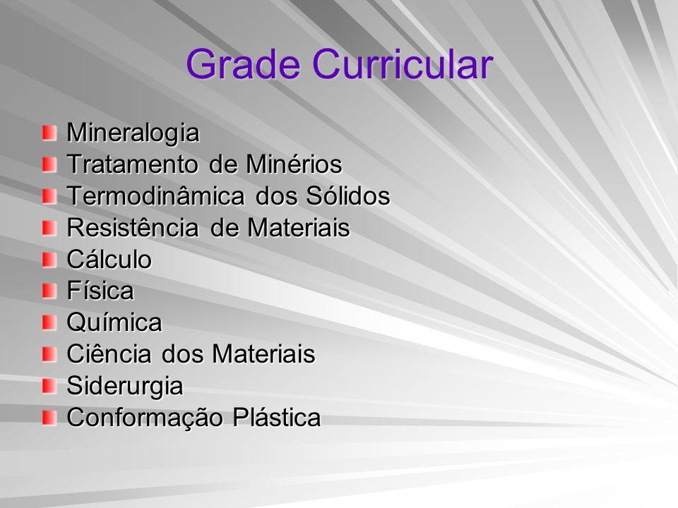 Grade Curricular Mineralogia Tratamento de Minérios