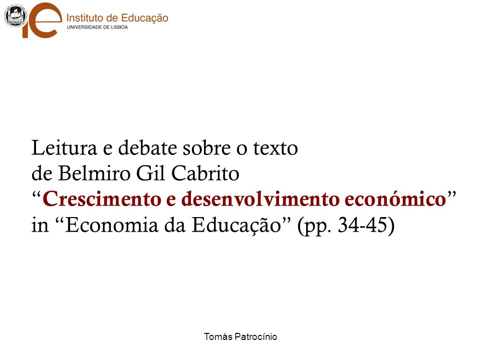 Leitura e debate sobre o texto de Belmiro Gil Cabrito