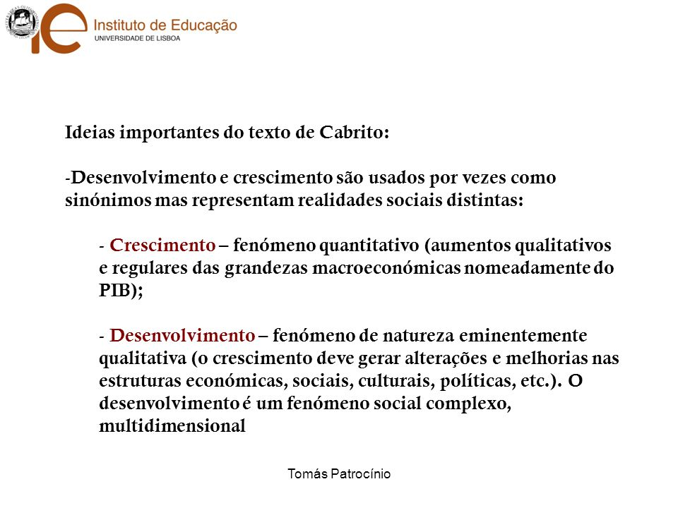 Ideias importantes do texto de Cabrito: