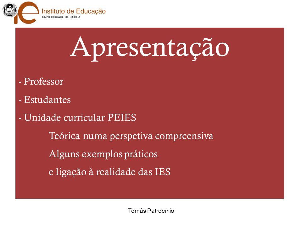 Apresentação Professor Estudantes - Unidade curricular PEIES