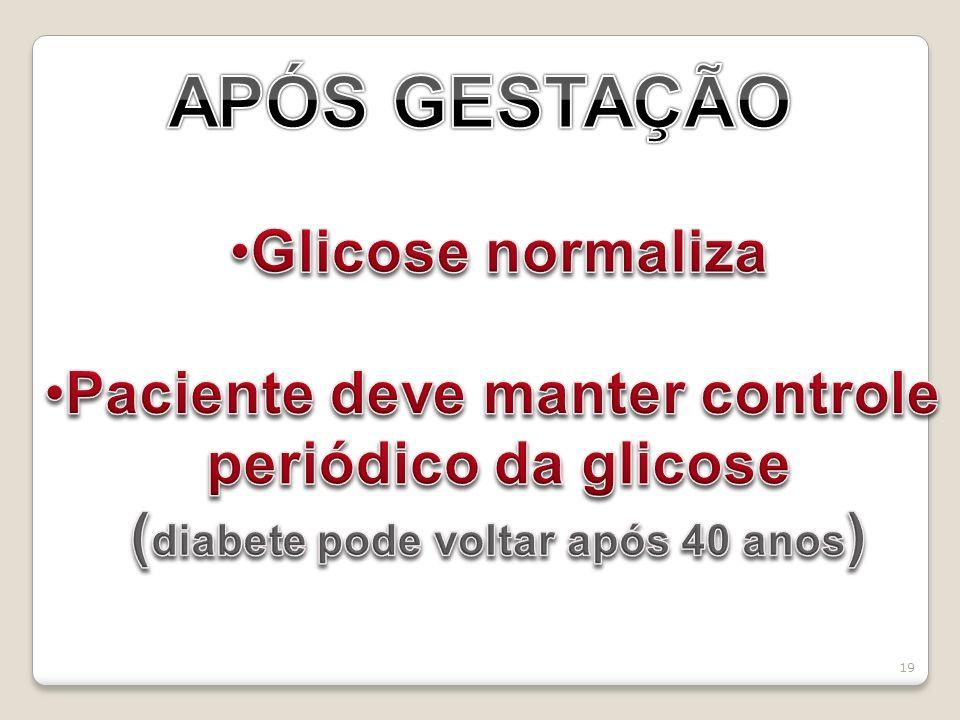 Paciente deve manter controle (diabete pode voltar após 40 anos)