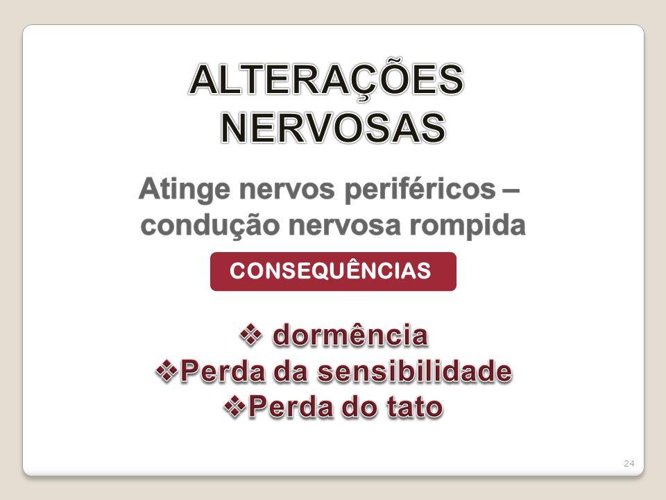 ALTERAÇÕES NERVOSAS Atinge nervos periféricos –