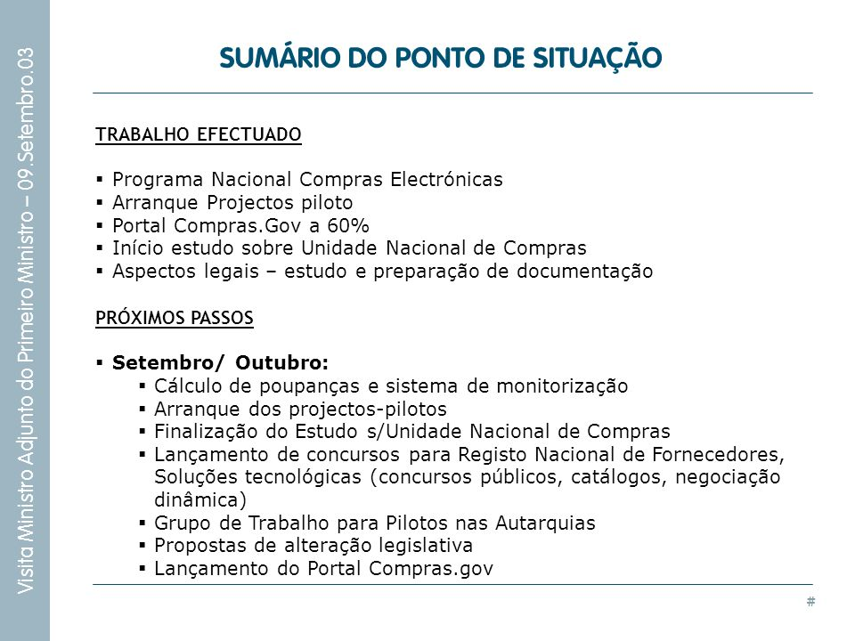 SUMÁRIO DO PONTO DE SITUAÇÃO
