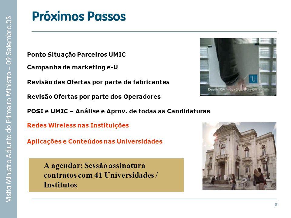 Próximos Passos Ponto Situação Parceiros UMIC. Campanha de marketing e-U. Revisão das Ofertas por parte de fabricantes.