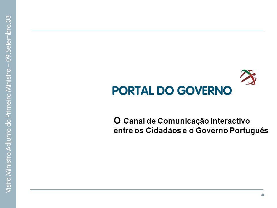 PORTAL DO GOVERNO O Canal de Comunicação Interactivo entre os Cidadãos e o Governo Português