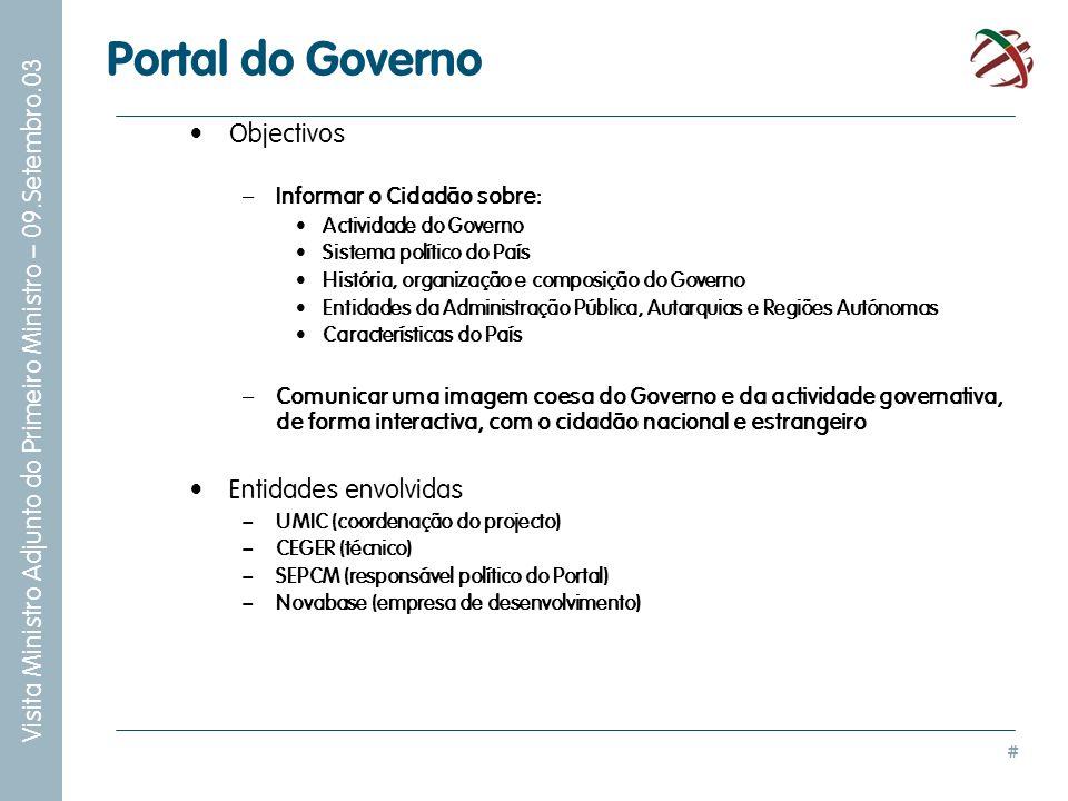 Portal do Governo Objectivos Entidades envolvidas
