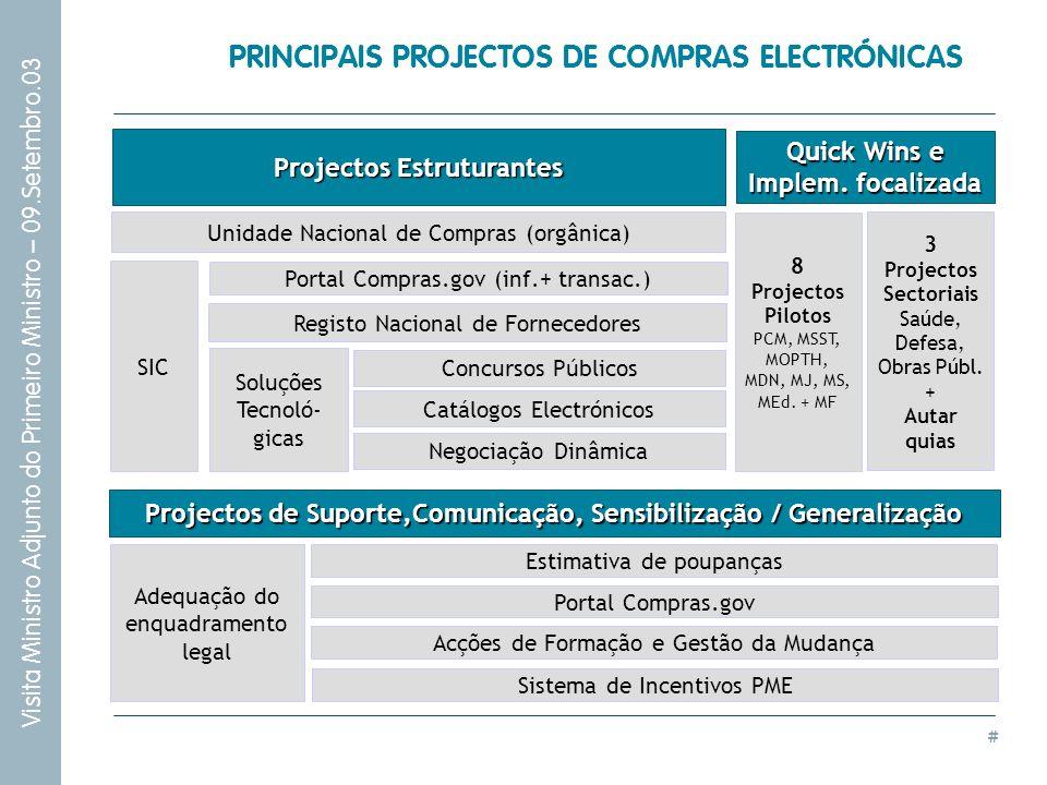 PRINCIPAIS PROJECTOS DE COMPRAS ELECTRÓNICAS