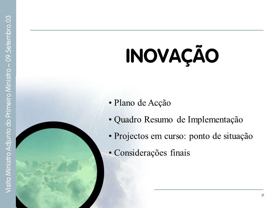 INOVAÇÃO Plano de Acção Quadro Resumo de Implementação