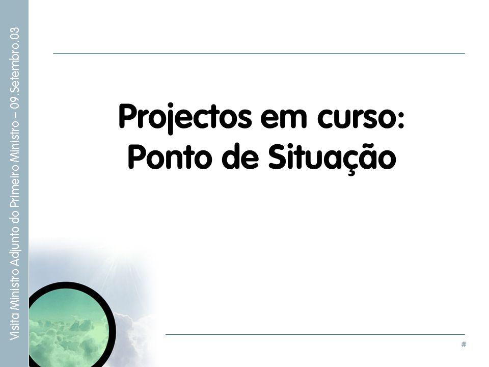 Projectos em curso: Ponto de Situação
